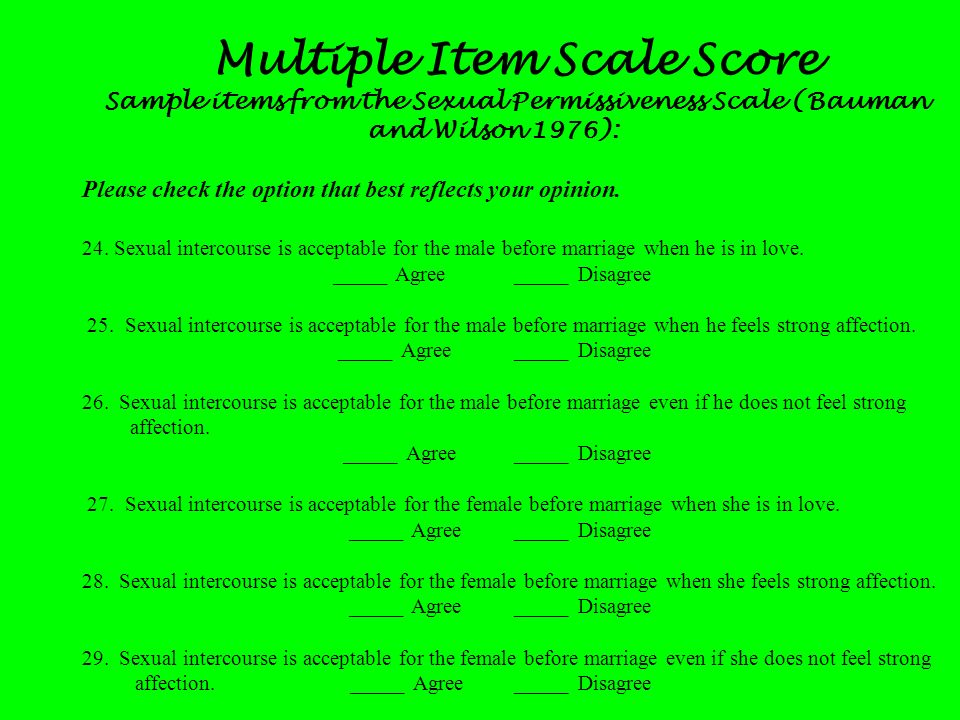 Multiple Item Scale Score