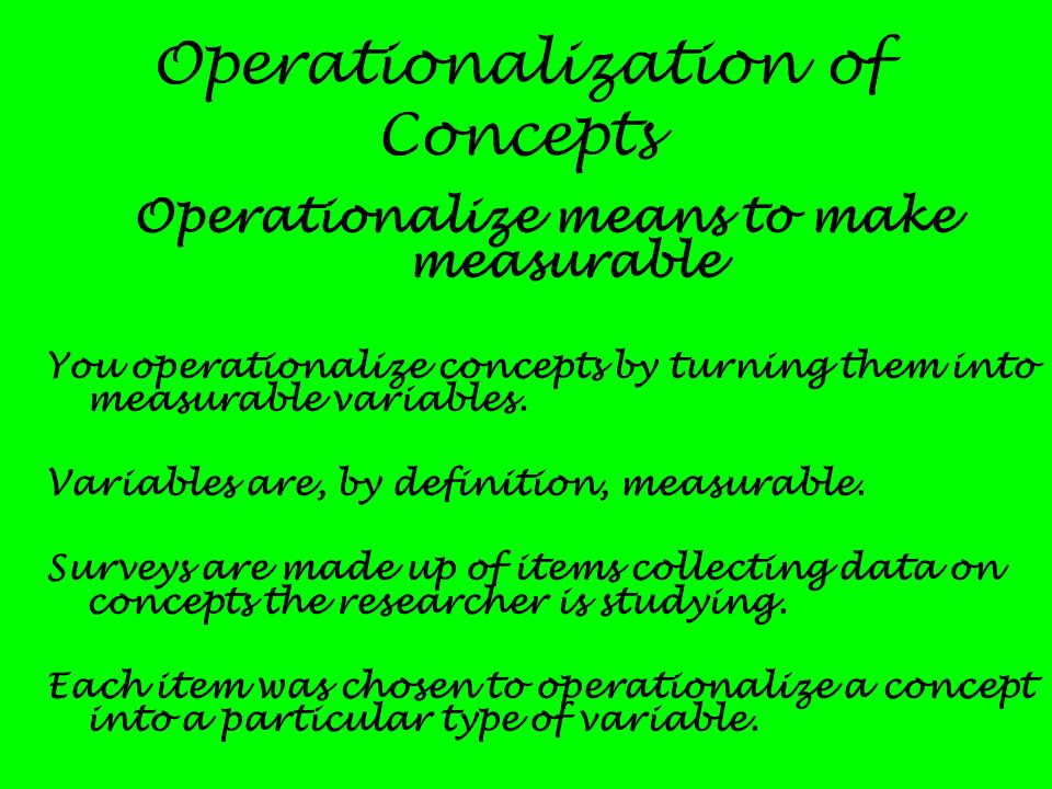 Operationalization of Concepts