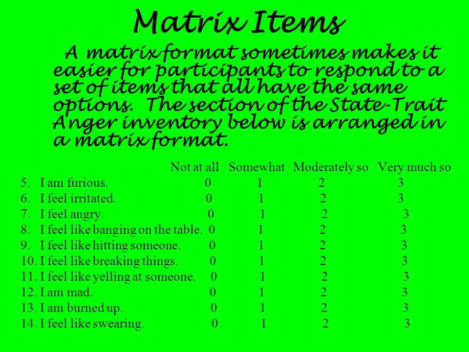 Matrix Items
