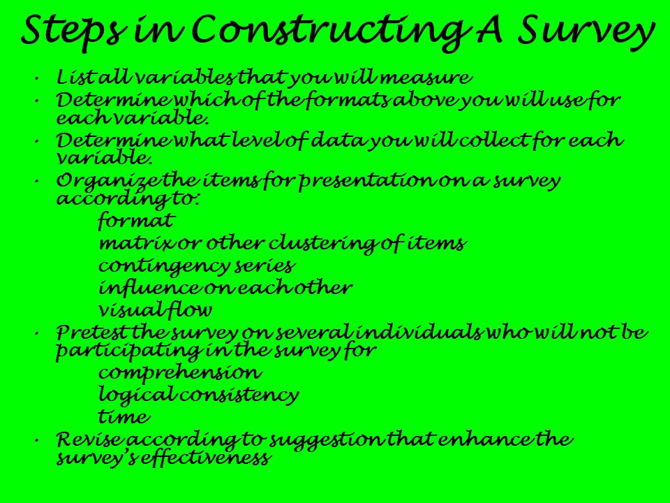 Steps in Constructing A Survey
