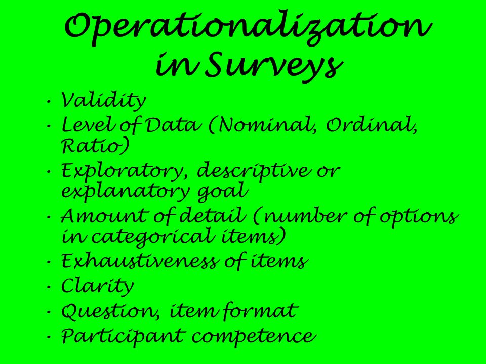 Operationalization in Surveys