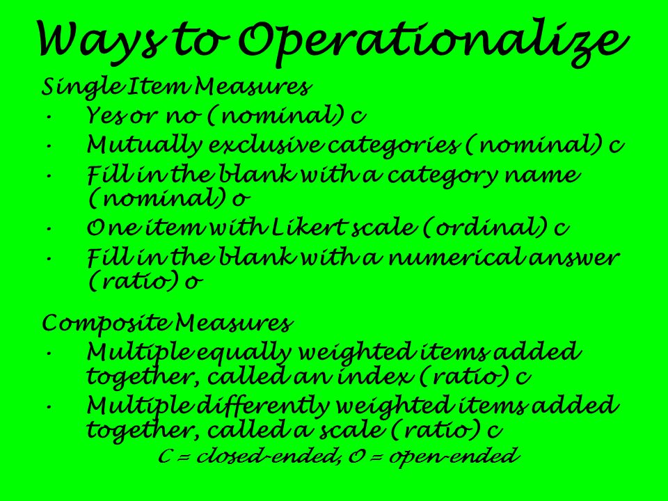 Ways to Operationalize