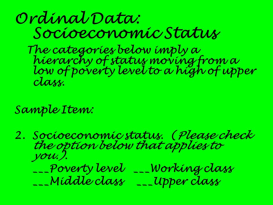 Ordinal Data: Socioeconomic Status