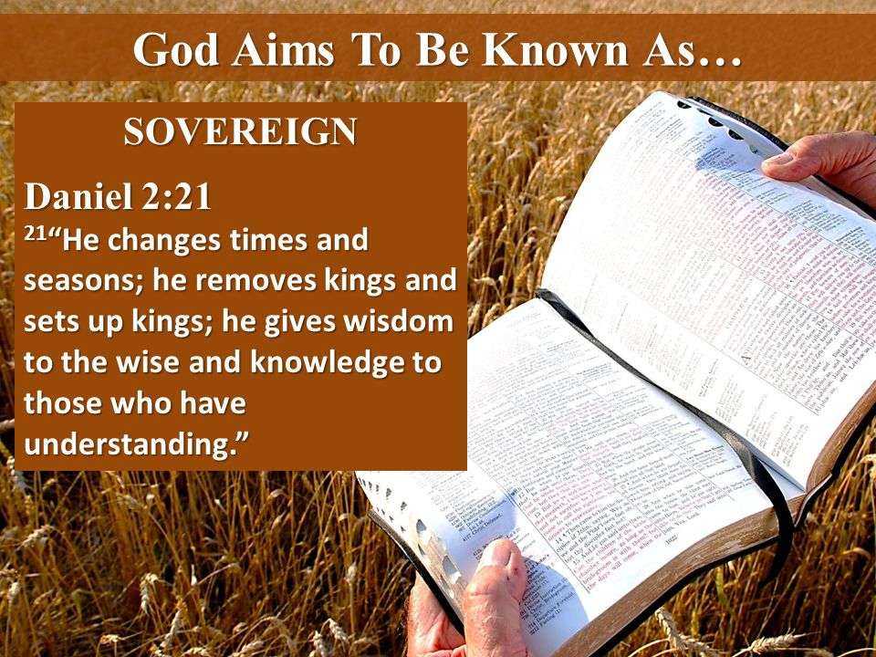 God Aims To Be Known As… SOVEREIGN Daniel 2:21
