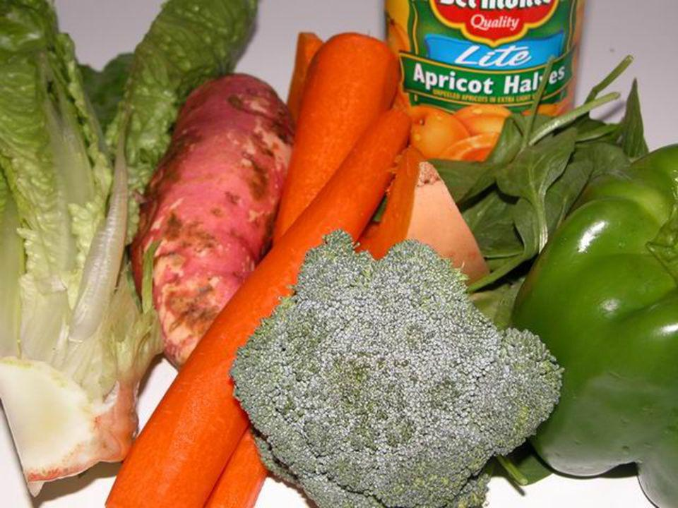 Pictures of foods with beta-carotene – from left to right: Romaine lettuce, red yam/orange sweet potato, carrots, broccoli, winter squash, apricot halves, spinach, bell pepper.