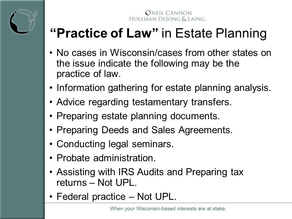 Practice of Law in Estate Planning