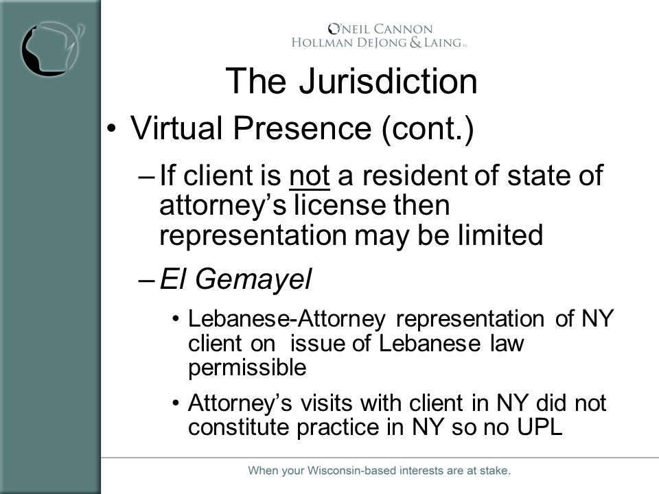 The Jurisdiction Virtual Presence (cont.)