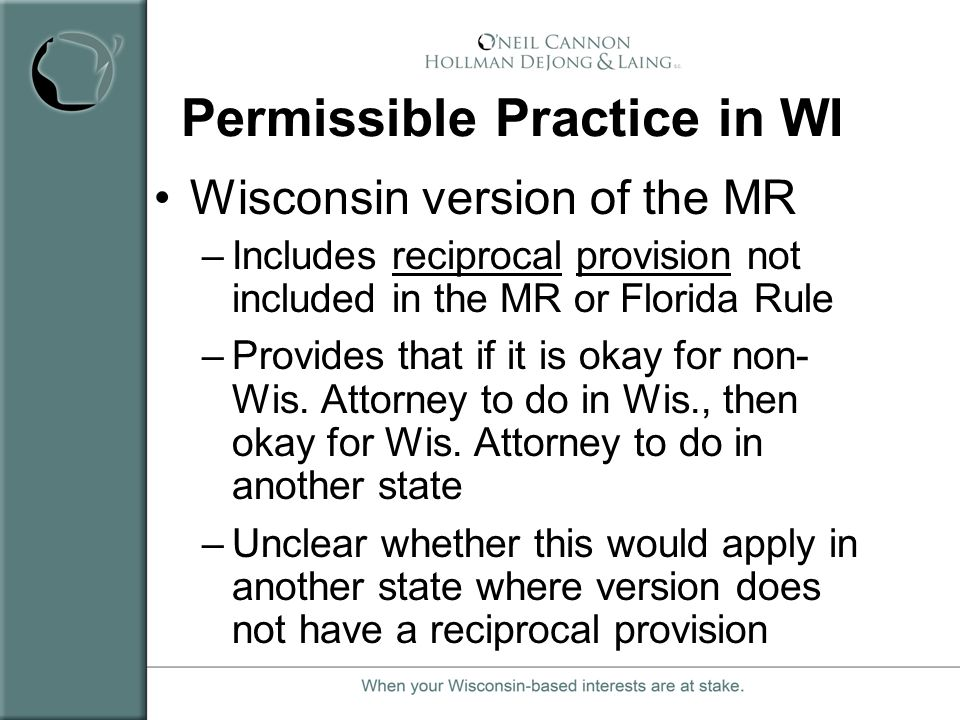 Permissible Practice in WI