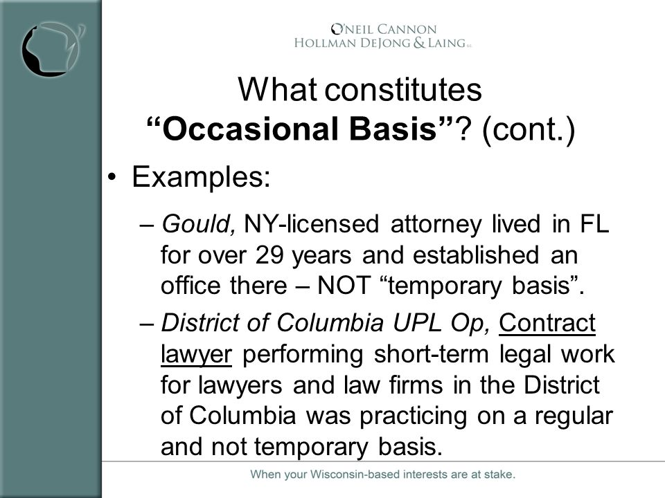 What constitutes Occasional Basis (cont.)