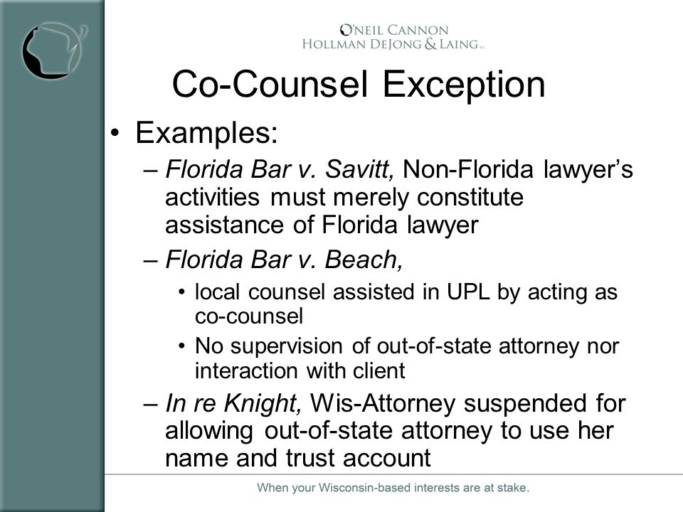 Co-Counsel Exception Examples: