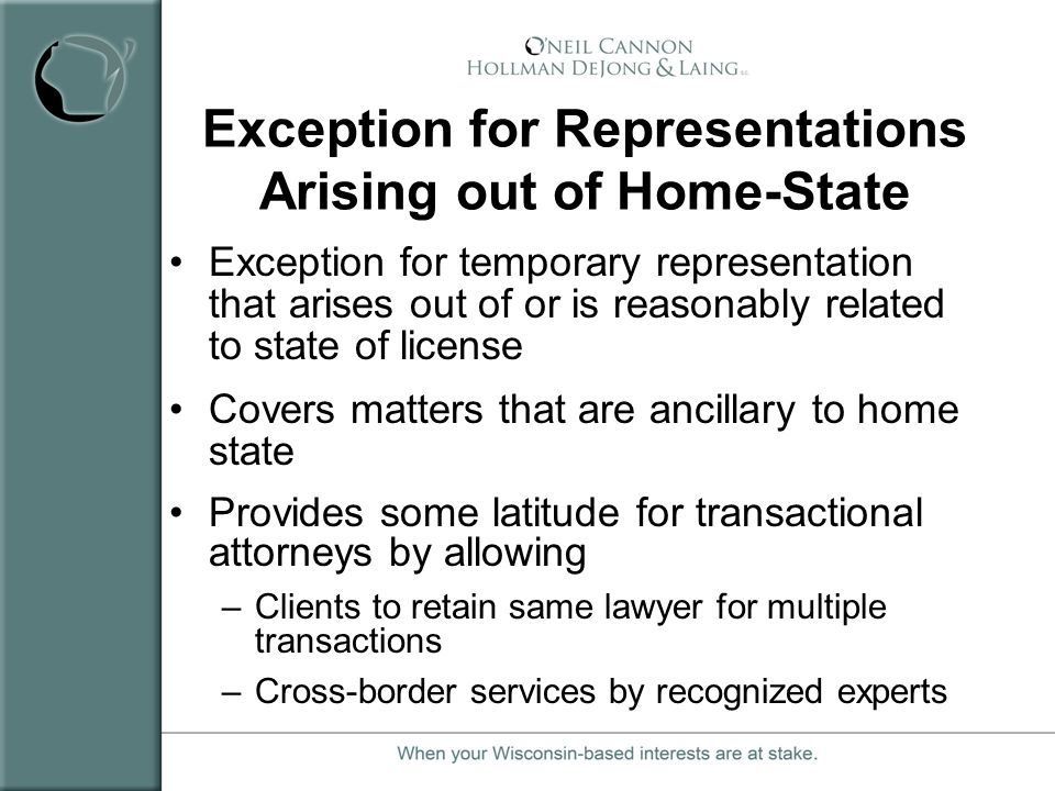 Exception for Representations Arising out of Home-State