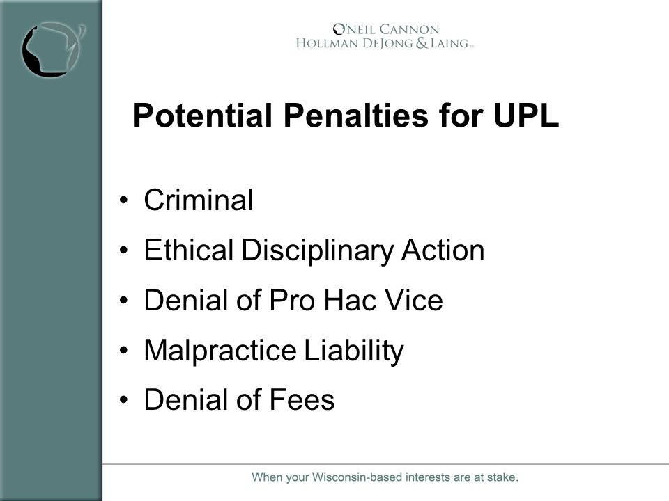 Potential Penalties for UPL