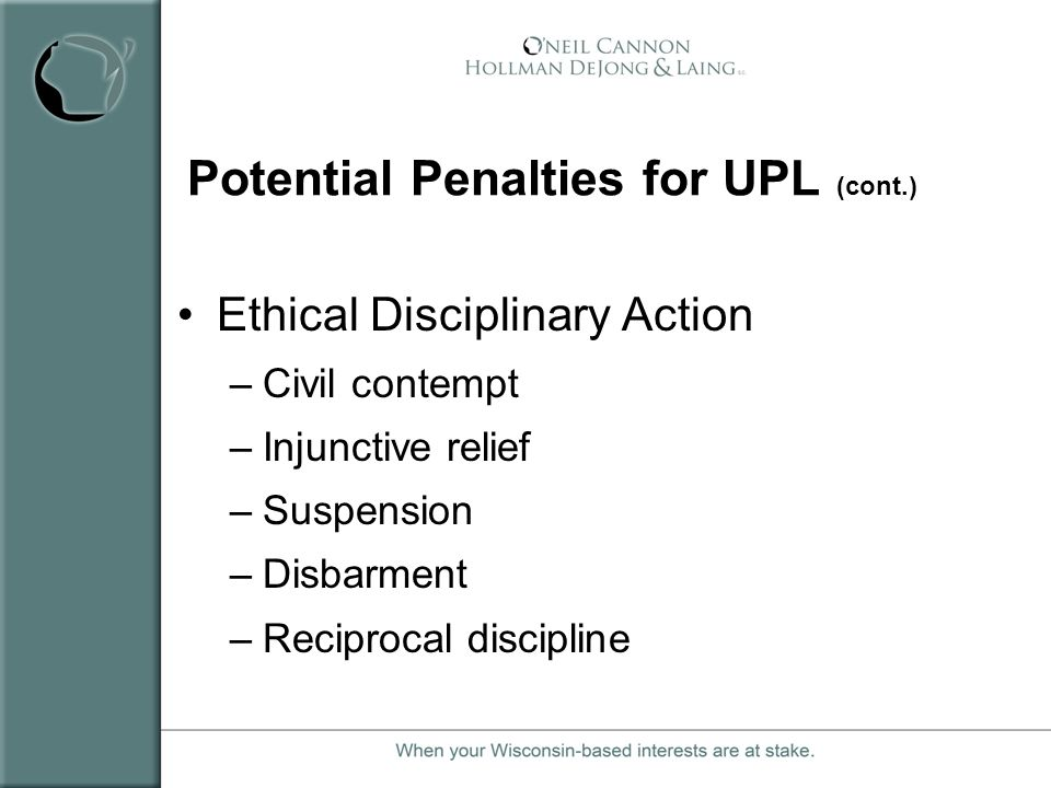 Potential Penalties for UPL (cont.)