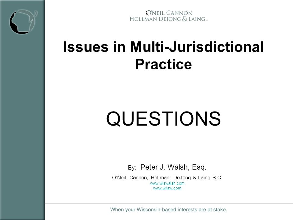 Issues in Multi-Jurisdictional Practice