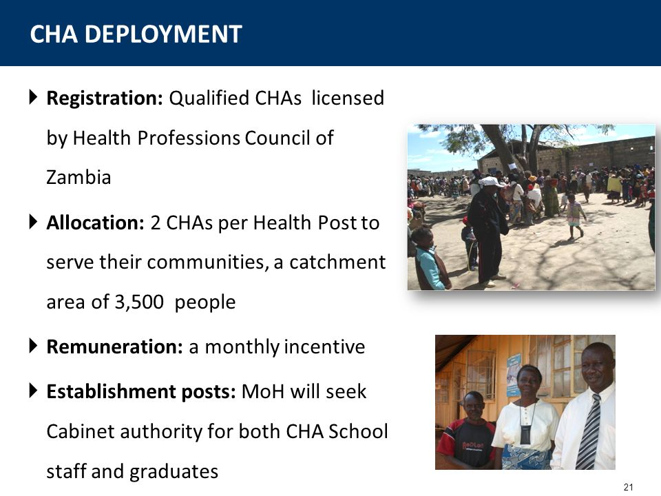 CHA DEPLOYMENT Registration: Qualified CHAs licensed by Health Professions Council of Zambia.