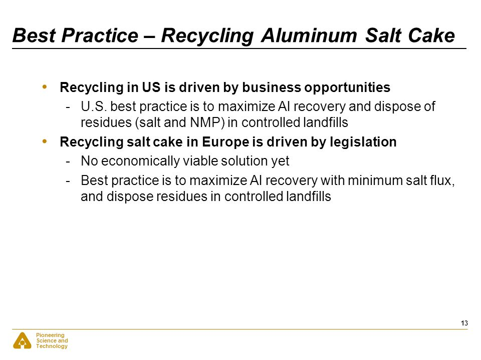 Best Practice – Recycling Aluminum Salt Cake