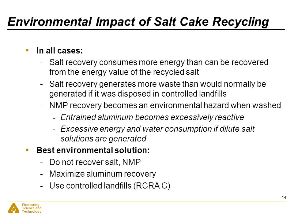 Environmental Impact of Salt Cake Recycling
