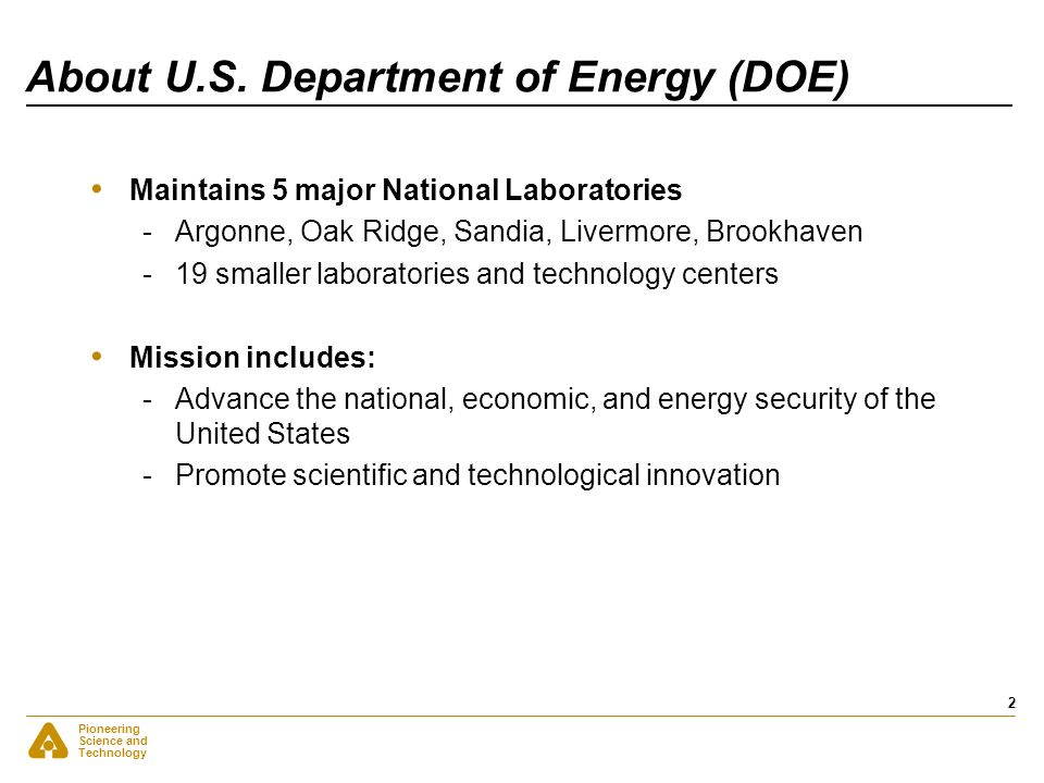 About U.S. Department of Energy (DOE)