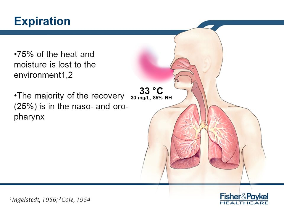 Expiration 75% of the heat and moisture is lost to the environment1,2. The majority of the recovery (25%) is in the naso- and oro-pharynx.