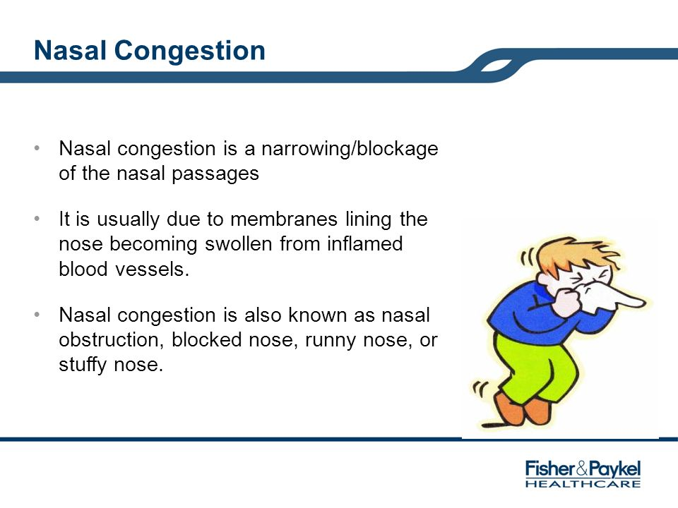 Nasal Congestion Nasal congestion is a narrowing/blockage of the nasal passages.