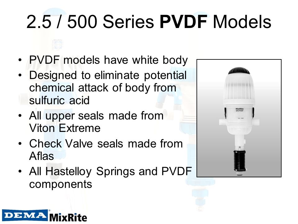 2.5 / 500 Series PVDF Models PVDF models have white body