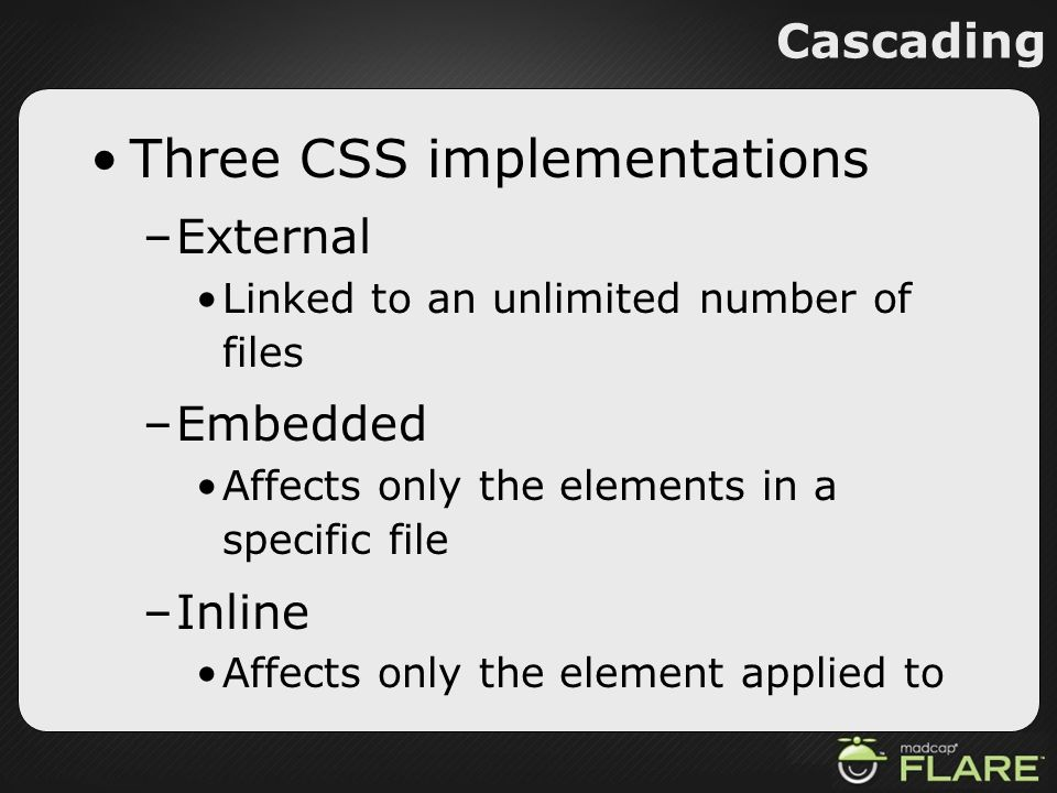 Three CSS implementations
