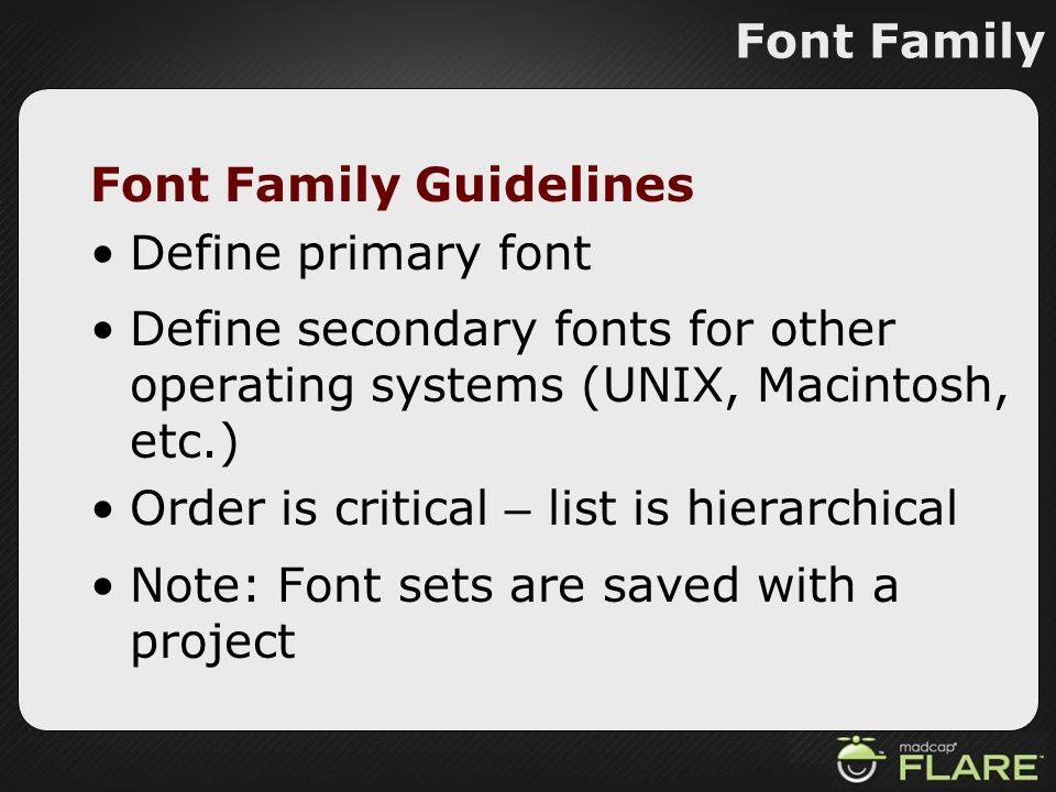Font Family Guidelines Define primary font