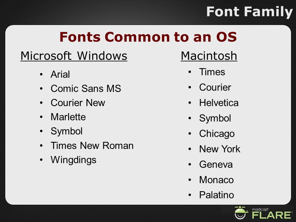 Font Family Fonts Common to an OS Microsoft Windows Macintosh Times