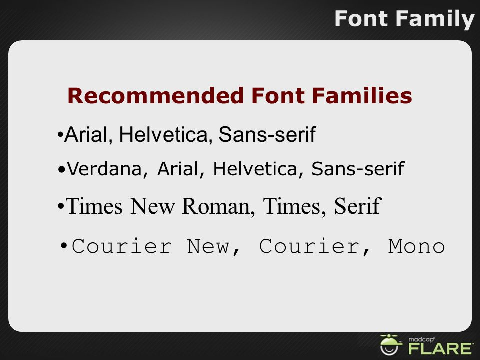 Recommended Font Families