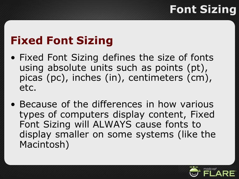 Font Sizing Fixed Font Sizing