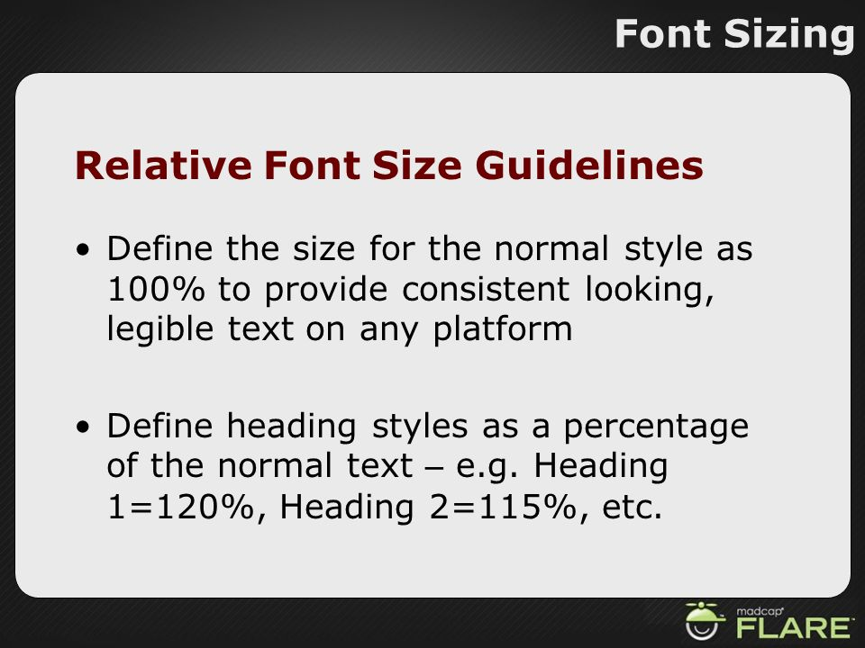 Relative Font Size Guidelines