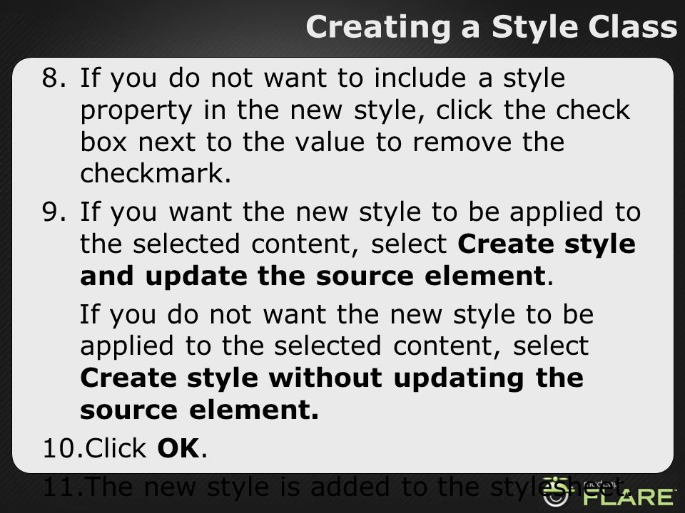 Creating a Style Class