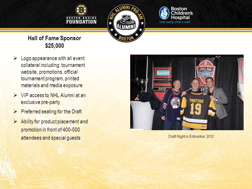 Hall of Fame Sponsor $25,000