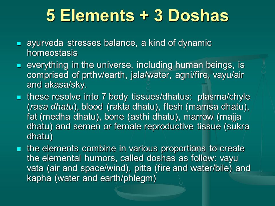 5 Elements + 3 Doshas ayurveda stresses balance, a kind of dynamic homeostasis.