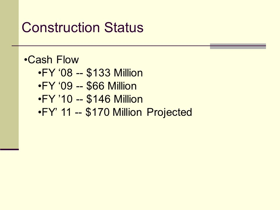 Construction Status Cash Flow FY '08 -- $133 Million