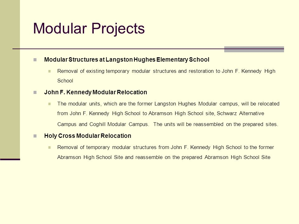 Modular ProjectsModular Structures at Langston Hughes Elementary School.