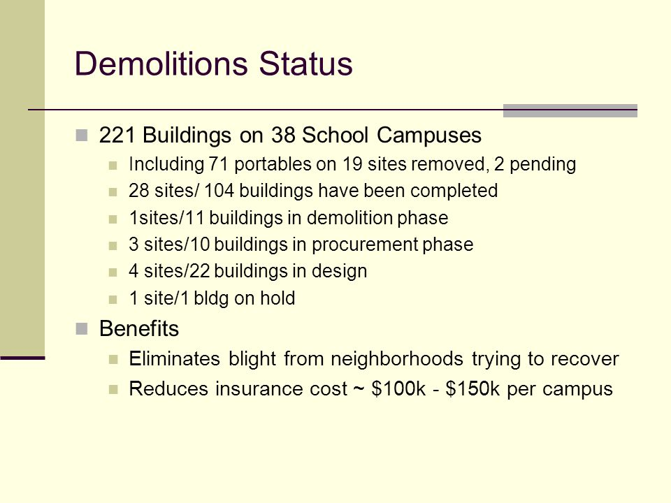 Demolitions Status 221 Buildings on 38 School Campuses Benefits