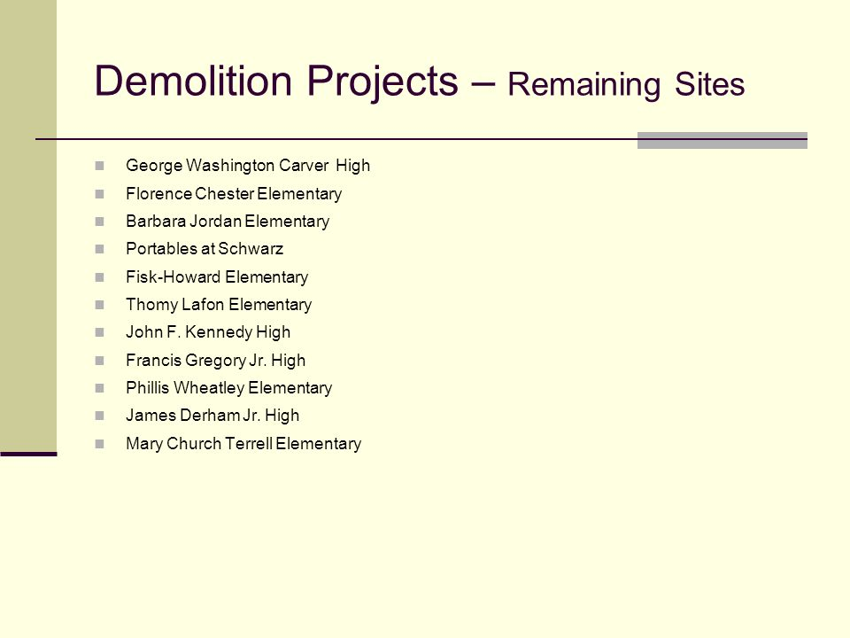Demolition Projects – Remaining Sites