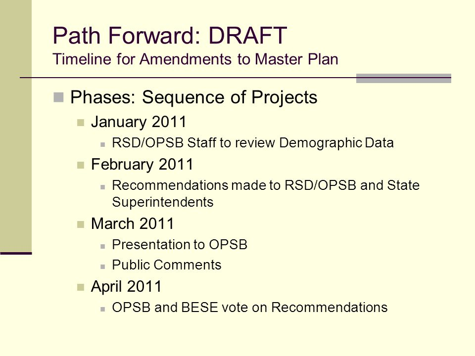 Path Forward: DRAFT Timeline for Amendments to Master Plan