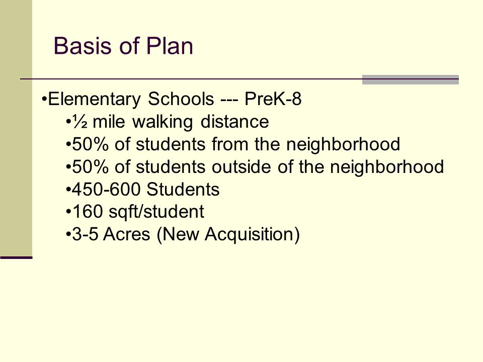 Basis of Plan Elementary Schools --- PreK-8 ½ mile walking distance