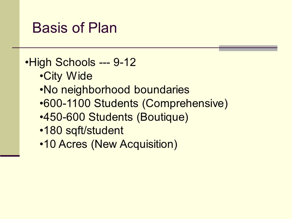 Basis of Plan High Schools --- 9-12 City Wide