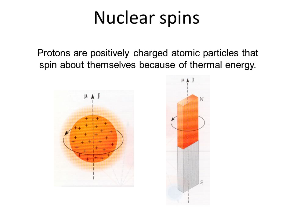 Nuclear spins Protons are positively charged atomic particles that spin about themselves because of thermal energy.