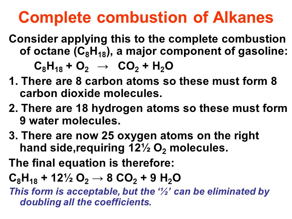 Complete combustion of Alkanes