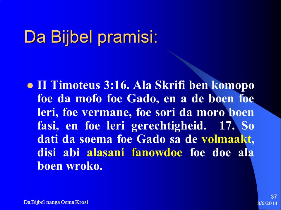 Da Bijbel pramisi: