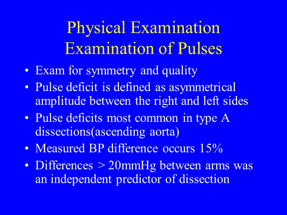 Physical Examination Examination of Pulses