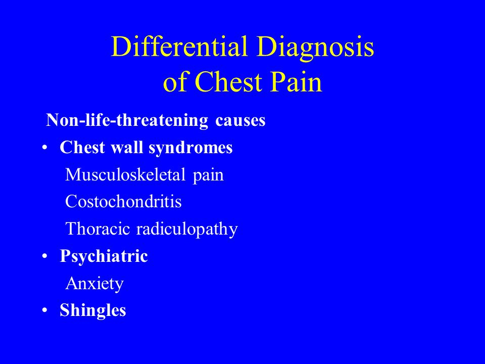 Differential Diagnosis of Chest Pain