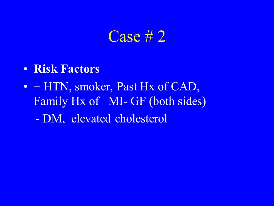 Case # 2 Risk Factors.