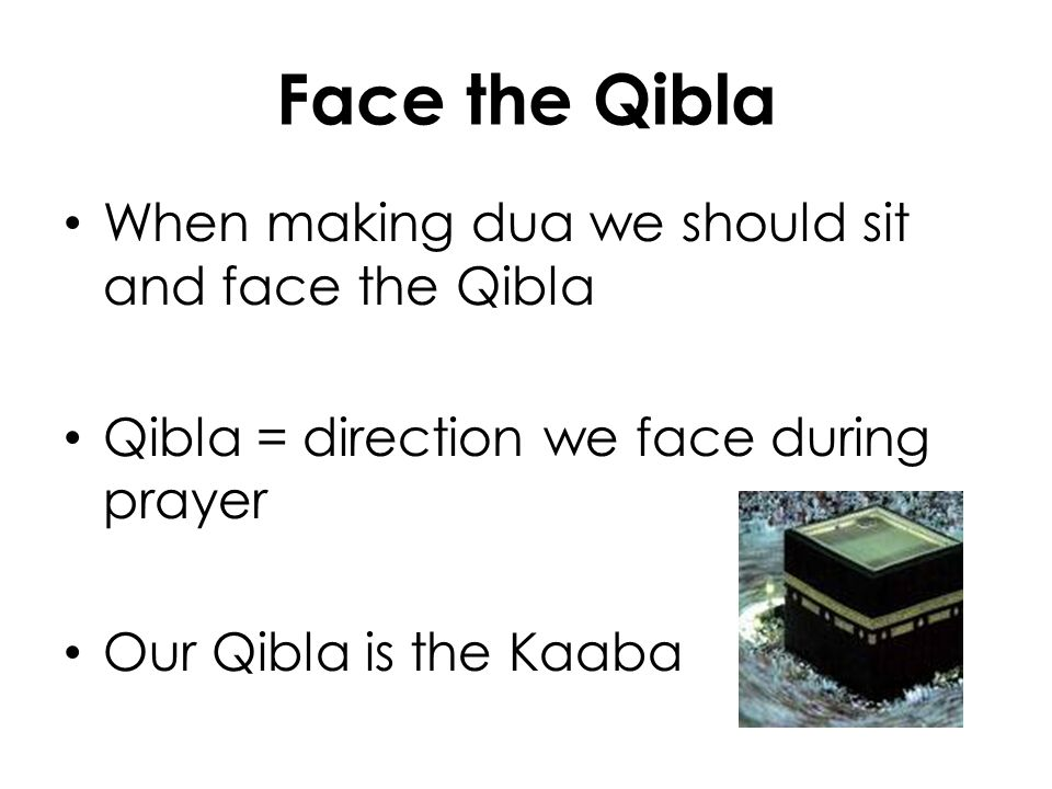 Face the Qibla When making dua we should sit and face the Qibla