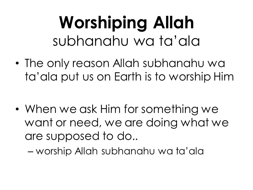 Worshiping Allah subhanahu wa ta'ala