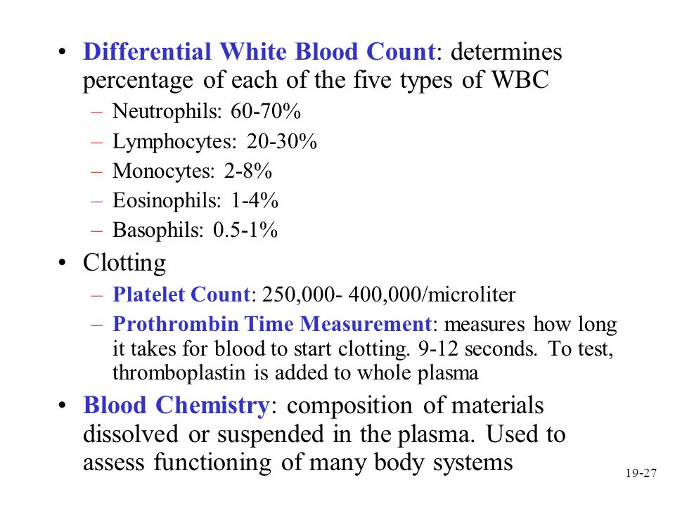 Differential White Blood Count: determines percentage of each of the five types of WBC